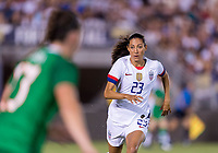 PASADENA, CA - AUGUST 4: Christen Press #23 defendds during a game between Ireland and USWNT at Rose Bowl on August 3, 2019 in Pasadena, California.