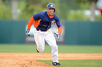 Houston Astros outfielder George Springer #75 during a Spring Training game against the St. Louis Cardinals at Osceola County Stadium on March 1, 2013 in Kissimmee, Florida.  The game ended in a tie at 8-8.  (Mike Janes/Four Seam Images)