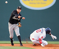 April 30, 2009: Shortstop and high Mets prospect Wilmer Flores of the Savannah Sand Gnats makes the force at second to put out Michael Almanzer of the Greenville Drive in a game at Fluor Field at the West End in Greenville, S.C. Photo by: Tom Priddy/Four Seam Images