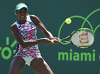 KEY BISCAYNE, FL - MARCH 30: Venus Williams defeats Caroline Wozniacki of Denmark during day 8 of the Miami Open Presented by Itau at Crandon Park Tennis Center on March 30, 2015 in Key Biscayne, Florida<br /> <br /> <br /> People:  Venus Williams<br /> <br /> Transmission Ref:  FLXX<br /> <br /> Must call if interested<br /> Michael Storms<br /> Storms Media Group Inc.<br /> 305-632-3400 - Cell<br /> 305-513-5783 - Fax<br /> MikeStorm@aol.com