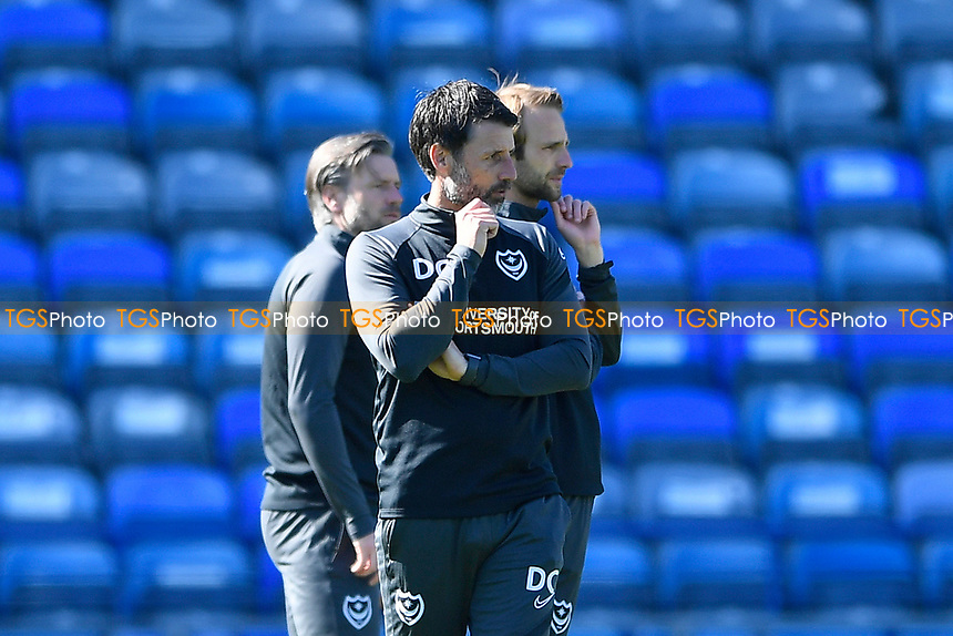 Portsmouth Manager Danny Cowley  keeps a watchful eye on his players during the warm up during Portsmouth vs Rochdale, Sky Bet EFL League 1 Football at Fratton Park on 2nd April 2021