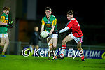 Cillian Burke, Kerry in action against Daragh Murray, Cork  during the Munster Minor Semi-Final between Kerry and Cork in Austin Stack Park on Tuesday evening.