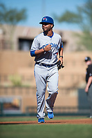 Surprise Saguaros position coach Andy Fermin (2), of the Toronto Blue Jays organization, during an Arizona Fall League game against the Salt River Rafters at Salt River Fields at Talking Stick on November 5, 2018 in Scottsdale, Arizona. Salt River defeated Surprise 4-3 . (Zachary Lucy/Four Seam Images)