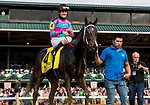 LEXINGTON, KY - OCTOBER 07: Finley'sluckycharm #4, ridden by Brian Hernandez up wins theThoroughbred Club of America Stakes at Keeneland Race Course on October 07, 2017 in Lexington, Kentucky. (Photo by Alex Evers/Eclipse Sportswire/Getty Images)