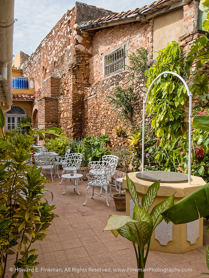 patio in beautifully restored historic home, restored by artist/architect