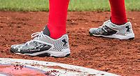 29 May 2016: Washington Nationals outfielder Harper Cleats sports his Under Armour cleats at the on-deck circle during a game against the St. Louis Cardinals at Nationals Park in Washington, DC. The Nationals defeated the Cardinals 10-2 to split their 4-game series. Mandatory Credit: Ed Wolfstein Photo *** RAW (NEF) Image File Available ***