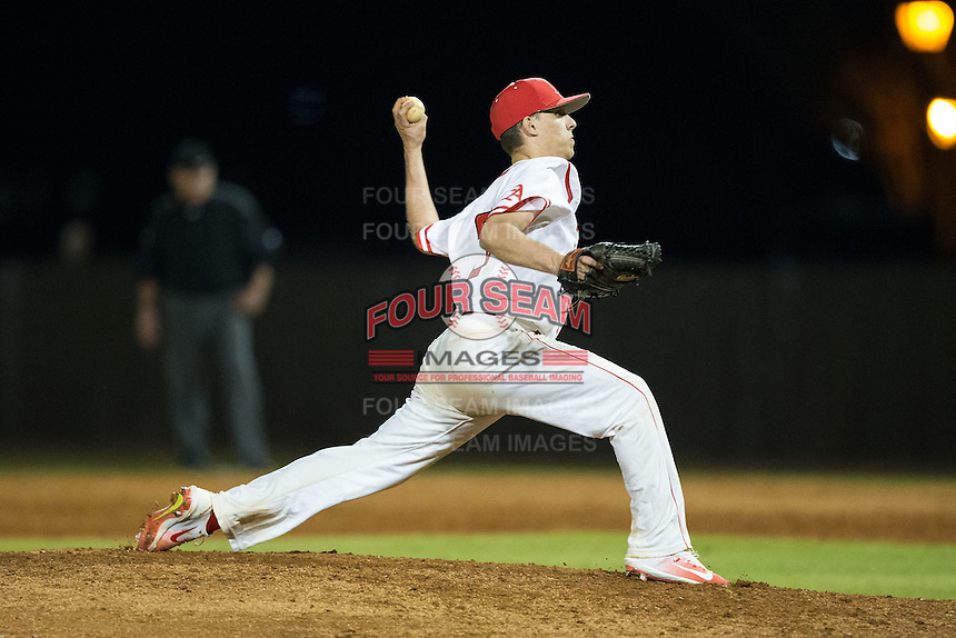 Belmont Abbey Crusaders relief pitcher Travis Block (28) in action against the Catawba Indians at Abbey Yard on February 7, 2017 in Belmont, North Carolina.  The Crusaders defeated the Indians 12-9.  (Brian Westerholt/Four Seam Images)