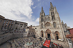 Burgos Cathedral start point for Stage 1 of La Vuelta d'Espana 2021, a 7.1km individual time trial around Burgos, Spain. 14th August 2021.    <br /> Picture: Luis Angel Gomez/Photogomezsport | Cyclefile<br /> <br /> All photos usage must carry mandatory copyright credit (© Cyclefile | Luis Angel Gomez/Photogomezsport)