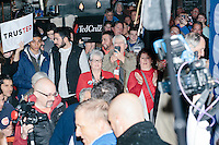 People applaud as Texas senator and Republican presidential candidate Ted Cruz enters the room to speak at The Village Trestle restaurant in Goffstown, New Hampshire, on Wed., Feb. 3, 2016.