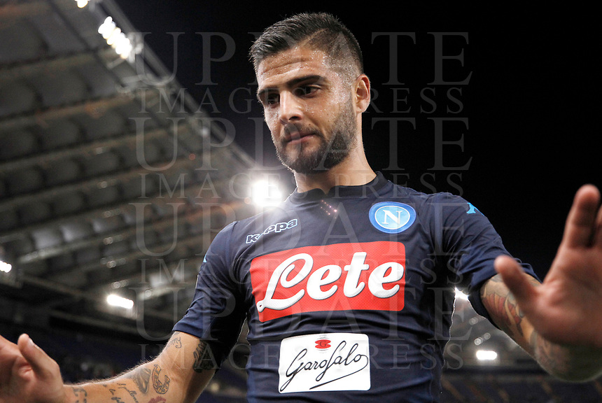 Calcio, Serie A: Roma, stadio Olimpico, 20 settembre 2017.<br /> Napoli's Lorenzo Insigne celebrates after winning 3-1 the Italian Serie A football match between Lazio and Napoli at Rome's Olympic stadium, September 20, 2017.<br /> UPDATE IMAGES PRESS/Isabella Bonotto