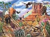Lori, LANDSCAPES, LANDSCHAFTEN, PAISAJES, paintings+++++Eagles In The Desert_6_10 in_72,USLS177,#l#, EVERYDAY ,puzzle,puzzles