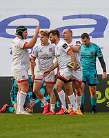 Sunday 25th October 2020 | Ulster vs Dragons<br /> <br /> Louis Ludik is congratulates after he scored for Ulster against the Dragons during the Guinness PRO14 match between Ulster and Dragons at Kingspan Stadium in Belfast. Photo by John Dickson / Dicksondigital