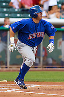 May 18, 2009:  Jake Fox of the Iowa Cubs, Pacific Cost League Triple A affiliate of the Chicago Cubs, during a game at the Spring Mobile Ballpark in Salt Lake City, UT.  Photo by:  Matthew Sauk/Four Seam Images