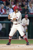 Arkansas Razorbacks infielder Michael Bernal (3) batting at Baum Stadium during the NCAA baseball game against the Alabama Crimson Tide on March 21, 2014 in Fayetteville, Arkansas.  The Alabama Crimson Tide defeated the Arkansas Razorbacks 17-9.  (William Purnell/Four Seam Images)
