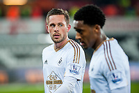 Gylfi Sigurdsson of Swansea City  leaves the field after the Barclays Premier League match between Swansea City and Aston Villa played at the Liberty Stadium, Swansea  on March the 19th 2016