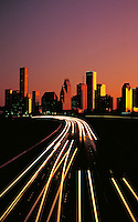 Vertical view of Houston Skyline at Dusk. Houston Texas USA.