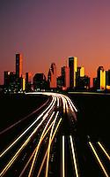 Vertical view of Houston Skyline at Dusk. Houston Texas USA.