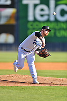 Asheville Tourists starting pitcher Tyler Brown (10) delivers a pitch during a game against the Brooklyn Cyclones on May 7, 2021 at McCormick Field in Asheville, NC. (Tony Farlow/Four Seam Images)