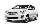 Stock pictures of low aggressive front three quarter view of 2017 Mitsubishi Mirage-G4 SE-CVT 4 Door Sedan Low Aggressive