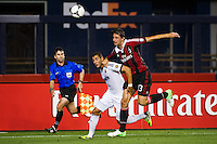 Karim Benzema (9) of Real Madrid and Francesco Acerbi (13) of A. C. Milan. Real Madrid defeated A. C. Milan 5-1 during a 2012 Herbalife World Football Challenge match at Yankee Stadium in New York, NY, on August 8, 2012.