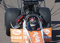 Feb. 23, 2013; Chandler, AZ, USA; NHRA top fuel dragster driver Clay Millican during qualifying for the Arizona Nationals at Firebird International Raceway. Mandatory Credit: Mark J. Rebilas-