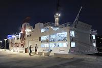 - Capraia Island, ferry of Toremar company in port....- Isola di Capraia, traghetto della compagnia Toremar in porto