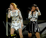 Icono Pop's Caroline Hjelt and Aino Jawo open the show for  Miley Cyrus at the Toyota Center  Sunday  March 16, 2014.(Dave Rossman photo)