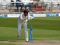 27th May 2021; Emirates Old Trafford, Manchester, Lancashire, England; County Championship Cricket, Lancashire versus Yorkshire, Day 1; Another Yorkshire wicket falls cheaply in the first hour as Harry Brook is run out by Lancashire keeper Dane Vilas