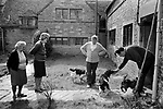 Upper Slaughter Gloucestershire 1970s UK.<br /> (Left to Right)Mrs Lepage,Mrs Harvey,Mr Harvey and Brian Harvey The mother, father and brother of Trevor Harvey who supplied the name and other details in this gallery.