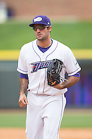 Winston-Salem Dash left fielder Nick Basto (23) jogs off the field between innings of the game against the Myrtle Beach Pelicans at BB&T Ballpark on May 10, 2015 in Winston-Salem, North Carolina.  The Pelicans defeated the Dash 4-3.  (Brian Westerholt/Four Seam Images)