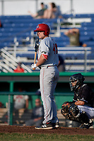 Auburn Doubledays designated hitter Nic Perkins (43) at bat during a game against the Batavia Muckdogs on June 28, 2018 at Dwyer Stadium in Batavia, New York.  Auburn defeated Batavia 14-9.  (Mike Janes/Four Seam Images)