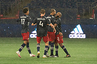 FOXBOROUGH, MA - NOVEMBER 1: Teal Bunbury #10 of New England Revolution celebrates the winning goal during a game between D.C. United and New England Revolution at Gillette Stadium on November 1, 2020 in Foxborough, Massachusetts.