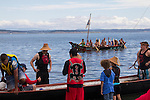 Canoe Journey, Paddle to Nisqually, 2016, Quinalt Indian Nation, Queets Tribe, canoes, Port Townsend, Fort Worden, Olympic Peninsula, Puget Sound, Salish Sea, Washington State, USA,