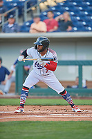 Abraham Almonte (7) of the Reno Aces squares to bunt against the Nashville Sounds at Greater Nevada Field on June 5, 2019 in Reno, Nevada. The Aces defeated the Sounds 3-2. (Stephen Smith/Four Seam Images)