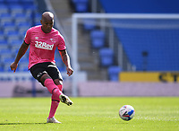 5th April 2021; Madejski Stadium, Reading, Berkshire, England; English Football League Championship Football, Reading versus Derby County; Andre Wisdom of Derby County plays the ball into the penalty area