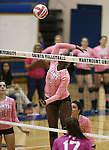 Marymount's Morgan McAlpin gets a kill during a college volleyball match against Shenandoah at Marymount University in Arlington, Vir., on Tuesday, Oct. 8, 2013.<br /> Photo by Cathleen Allison