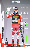 29th December 2020; Stelvio, Bormio, Italy; FIS World Cup Super for Men;  second placed Vincent Kriechmayr of Austria during the winners ceremony