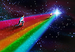 Illustrative image of businessmen running on rainbow representing business competition