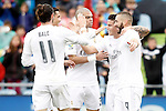 Real Madrid's Gareth Bale, Cristiano Ronaldo, Pepe, James Rodriguez and Karim Benzema celebrate goal during La Liga match. April 16,2016. (ALTERPHOTOS/Acero)