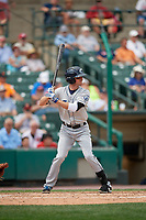 Columbus Clippers second baseman Josh Wilson (7) bats during a game against the Rochester Red Wings on August 9, 2017 at Frontier Field in Rochester, New York.  Rochester defeated Columbus 12-3.  (Mike Janes/Four Seam Images)