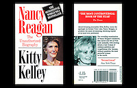 Kitty Kelley - Nancy Reagan book rear cover and spine - Dorchester Hotel, Park Lane W1, London - 1991
