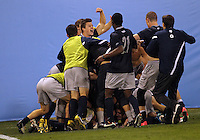 HOOVER, AL - DECEMBER 07, 2012:  Players of Georgetown University after winning the match during an NCAA 2012 Men's College Cup semi-final match, at Regions Park, in Hoover , AL, on Friday, December 07, 2012. The game ended in a 4-4 tie, Georgetown won on penalty kicks after overtime.