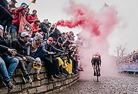 Sjoerd van Ginneken (NED/Roompot-Nederlandse Loterij) smoked out on top of the infamous Kapelmuur/Muur van Geraardsbergen<br /> <br /> 102nd Ronde van Vlaanderen 2018 (1.UWT)<br /> Antwerpen - Oudenaarde (BEL): 265km