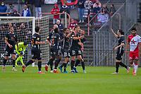 Viktor Boone (3) of KMSK Deinze scores 1-0 and Deinze can celebrate during a friendly soccer game between KMSK Deinze and Zulte Waregem during the preparations for the 2021-2022 season , on Wednesday 14 th of July 2021 in Deinze , Belgium . PHOTO STIJN AUDOOREN | SPORTPIX