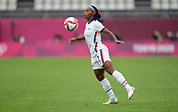 KASHIMA, JAPAN - JULY 27: Crystal Dunn #2 of the United States traps the ball before a game between Australia and USWNT at Ibaraki Kashima Stadium on July 27, 2021 in Kashima, Japan.