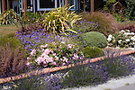 Perennial Border, Rose, New Zealand Flax, Coral Bells, English Lavender, Geranium cultivars