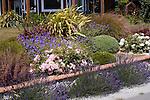 Perennial Border, Rose, New Zealand Flax, Coral Bells, English Lavender, Geranium cultivars