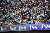 SAN JOSE, CA - JULY 24: Fans watch from the stands during a game between Houston Dynamo and San Jose Earthquakes at PayPal Park on July 24, 2021 in San Jose, California.