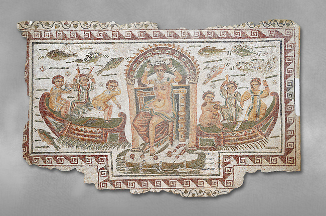 Late 4th century AD Roman mosaic panel of  Venus, Aphrodite, on a boat crowning herself accompanied by six dwarfs. From Cathage, Tunisia.  The Bardo Museum, Tunis, Tunisia. Grey background