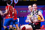 Kamilla Rytter Juhl and Christinna Pedersen of Denmark congratulate after defeating Huang Dongping and Li Yinhui of China during their Women's Doubles Final of YONEX-SUNRISE Hong Kong Open Badminton Championships 2016 at the Hong Kong Coliseum on 27 November 2016 in Hong Kong, China. Photo by Marcio Rodrigo Machado / Power Sport Images